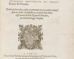 110. marguerite d'angoulême. l'heptameron... paris, gilles robinot, 1559. in-4. maroquin lavallière du début du xviiie.