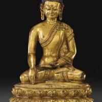 106. 十五世紀 西藏 鎏金銅合金釋迦牟尼佛坐像