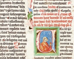 3. apostle, historiated initial on a single leaf from a breviary, in latin [perhaps bohemia, c.1400]