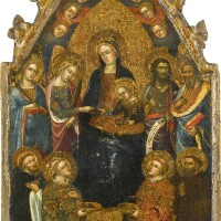105. attributed to gregorio di cecco di lucca | the madonna and child enthroned, flanked by saints, with the mystic marriage of saint catherine