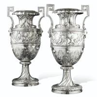 105. paire de très grandes amphores en argent, probablement italie, vers 1900,