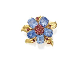38. gold, sapphire and ruby clip-brooch