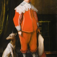 25. willem van der vlietc. 1584 - 1642 | portrait of a boy aged 8 years in a red costume together with a dog