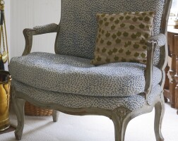 829. a louis xv gray-painted and carved fauteuil circa 1760