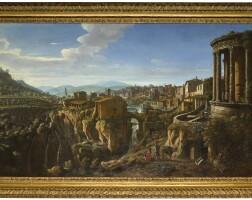 28. gaspar van wittel, called vanvitelli   tivoli, a view with the temple of vesta and the bridge of san martino