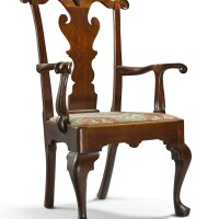 6033. fine queen anne carved walnut open armchair, philadelphia, circa 1755