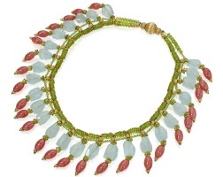 319. peridot, aquamarine, rhodocrosite, and diamond necklace
