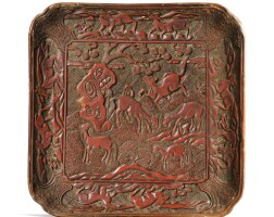 48. a carved cinnabar lacquer square traychina, ming dynasty |