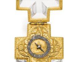 6. jean delacombes | a rare gilt metal and rock crystal cruciform verge watchwithleather outer protective casecirca 1650