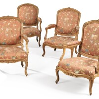 """46. a suite of three carved beechwood """"à châssis"""" armchairs, circa 1750, with one additionnal armchair of later date  """