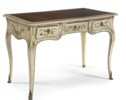 311. a louis xv provincial polychrome-painted bureau plat mid-18th century, extensively redecorated