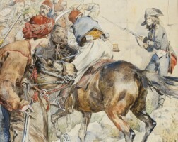 199. félicien de myrbach rheinfeld   lieutenant richemont shakes down an albanian horseman during the battle of nicopolis in october 1798