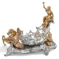 317. a large german parcel-gilt and silvered metal 'marine' table centrepiece, wmf (württembergische metallwarenfabrik), circa 1900