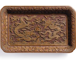 3684. a rare carved yellow lacquer 'dragon' tray ming dynasty, wanli period, dated to the renchen year (in accordance with 1592)