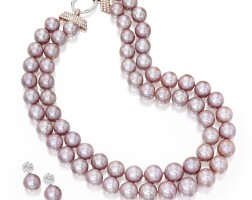 14. 18 karat gold, cultured pearl and diamond necklace and earrings