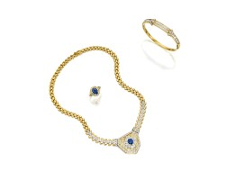 1301. sapphire and diamond necklace, matching ring, and diamond bangle