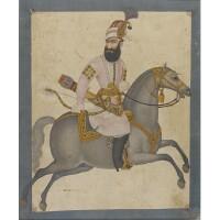 91. a portrait of karim khan zand on horseback, attributable to abu'l hasan ghaffari mustawfi kashani, persia, late 18th century
