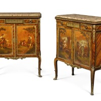 305. a pair of louis xvi style gilt-bronze mounted mahogany and vernis martin meubled'appui paris, late 19th century, in the manner of françois linke |