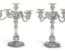 25. a pair of american silver five-light candelabra, tiffany & co., new york, circa 1891  