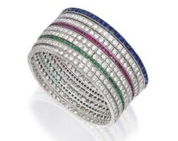 397. group of diamond and gem-set bangle-bracelets