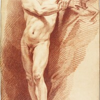 330. carle van loo   an academy study: male nude looking upwards