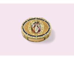 43. tabatière commémorative en or et émail, poinçons de prestige fs couronné, hanau, vers 1793