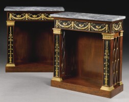 56. a pair of gilt-bronze-mounted ebony veneeredand mahogany console tables/bibliothèques both stamped jacob d. r. meslée, the gilt-bronze mounts attributed to pierre-philippethomire(1751-1843) empire, circa 1803-09