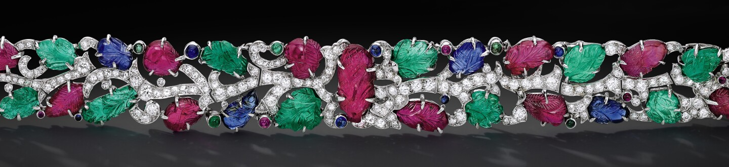 Tutti Frutti bracelet by Cartier in an auction selling Cartier bracelets