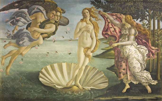 A figure of Venus nude standing on a clamshell in the ocean with mythical figures on either side.