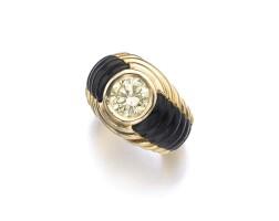 45. fancy yellow diamond and onyx ring