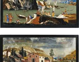 7. paire de panneaux en marqueterie de pierres dures italiennes, florence, ateliers grand-ducaux, fin du xviie/début du xviiie siècles