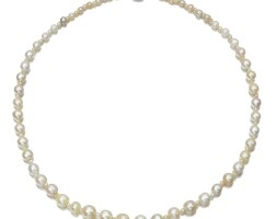 4. natural pearl, cultured pearl and diamond necklace