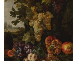 16. onofrio loth | still life of grapes, pomegranates, and peaches in a landscape