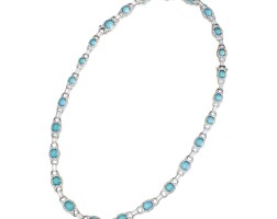 20. turquoise and diamond necklace,france