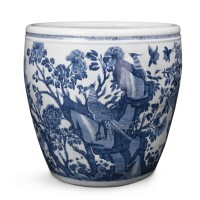 12. a chinese blue and white large jardinière 18th century