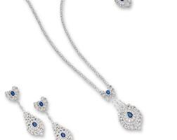 1630. sapphire and diamond demi-parure