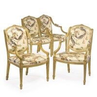1. a set of four george iii giltwood armchairs in the manner of françois hervé circa 1780