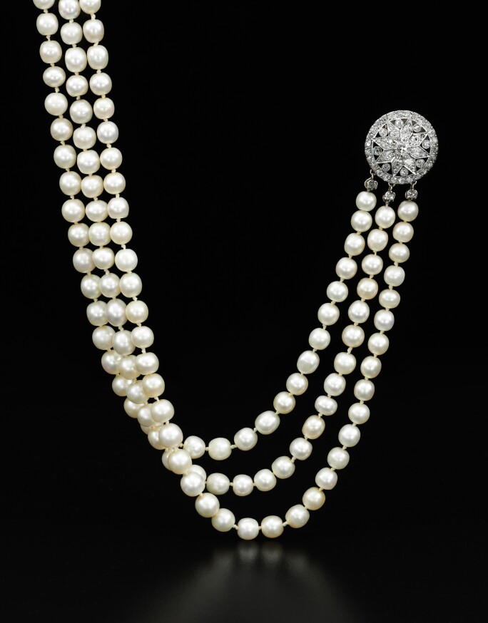 034d09338 A natural pearl and diamond necklace - Royal Jewels from the Bourbon Parma  Family - Sotheby's