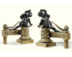 9. a pair of bronze and gilt-bronze chenets french, circa 1840