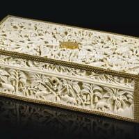 265. a carved ivory casket and scroll presented to sir joseph west ridgeway, governor of british ceylon, sri lanka, 1903