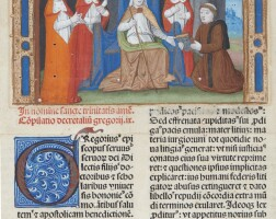 12. the author presenting his work to pope gregory ix, from an incunable in latin [france (paris?), late 15th century]