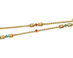 112. turquoise and coral necklace, cartier