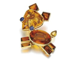 257. citrine and sapphire brooch, cartier, 1940s