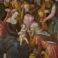 109. attributed to willem key | recto: the adoration of the magiverso: the visitation