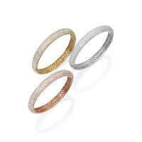 4. set of three 18 karat gold and diamond bangle-bracelets