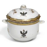 15. a chinese exportarmorial sugar bowl and cover with the royal coat-of-arms of prussia qing dynasty, circa 1755