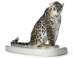 390. a meissen figure of a leopard circa 1905