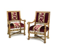 26. a pair of louis xiv carved giltwood fauteuils circa 1680
