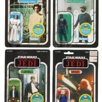 36. eight star wars return of the jedi '48-back' action figures including leia, 1983