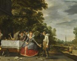 107. adam van breen   an elegant company banqueting on a terrace
